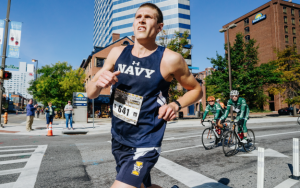 Jordan Tropf, fourth-year medical student and winner of the 2017 Baltimore Marathon. (Photo by Ian Johnston)